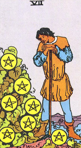 Image showing 7 of Pentacles - its keywords, meaning,symbolism, prediction in finance,money,love,marriage,relationship, yes/no Tarot Card Reading
