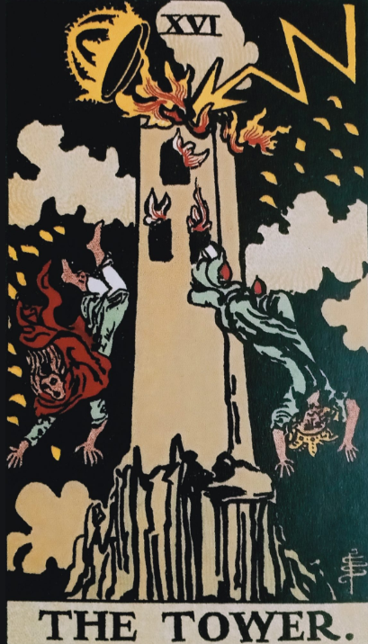 Image showing The Tower Tarot Card in Finance,Money,Career,Love,Marriage,Relationship and meaning of The Tower card with symbolism and future prediction