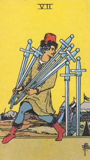 Image showing Seven of Swords- Check its meaning, keywords, future prediction, love,career etc