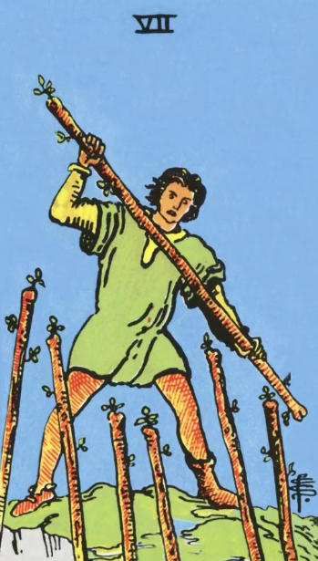 Image showing 7 of wands in Present position, read result of it and what it denotes in career reading